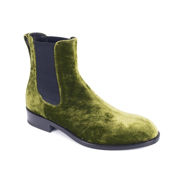 d4c60fa60fe3 Dries Van Noten Women  x27 s Green Velvet Chelsea Ankle Boots. Click to Zoom