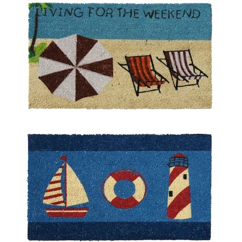 "Rubber-Cal Summer ""Beach Doormat"" Kit - 18"" x 30"" - 2 Door Mats"