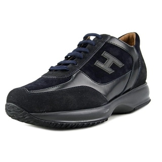 Hogan New Interactive H Vintage Men Round Toe Suede Black Tennis Shoe