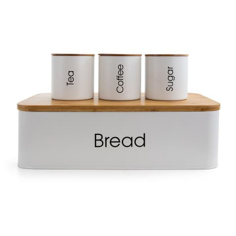 MegaChef Kitchen 4Pc Bamboo Organization Canister Set White