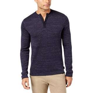 Calvin Klein Mens Henley Shirt Mixed Media Long Sleeves
