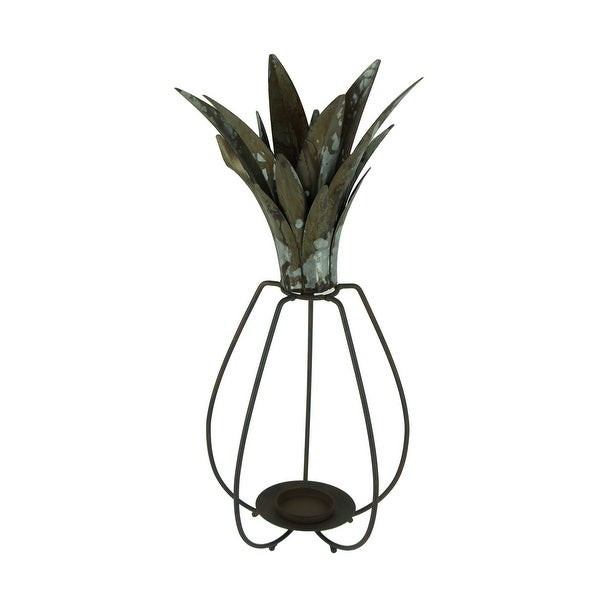 Rustic Metal Tropical Pineapple Candle Lantern - 18.5 X 8.25 X 8.25 inches