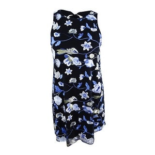 ECI Women's Tie-Back Embroidered Mesh Dress (L, Black/Blue) - Black/Blue - l