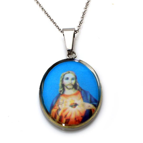 Stainless Steel Jesus Oval Pendant - 18 inches