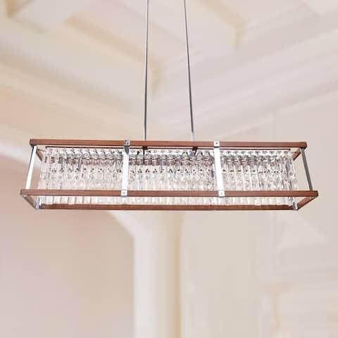 5-Light Mid-century Modern Crystal Rectangle Pendant Lighting - Clear