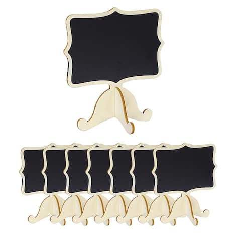 8pcs Wood Mini Chalkboard Signs w Support Easel DIY for Message Tags - Beige