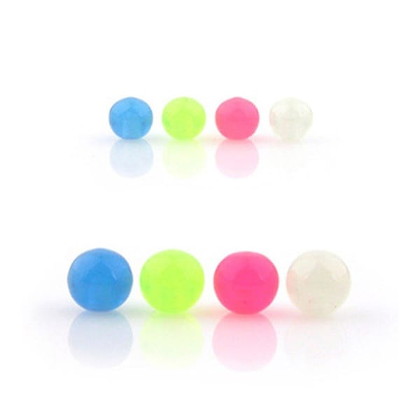 10 Piece Pack Threaded Glow in the Dark Acrylic Balls - 14GA (5mm Ball)