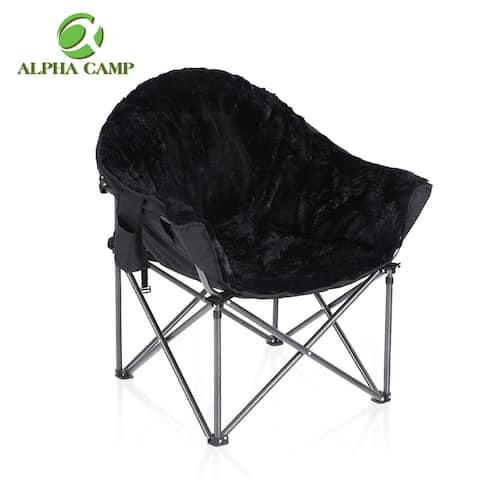 ALPHA CAMP Plush Moon Saucer Chair with Carry Bag - Supports 350 LBS, Black, Brown & Grey.