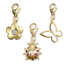 Julieta Jewelry Ladybug, Flower, Butterfly 14k Gold Over Sterling Silver Clip-On Charm Set