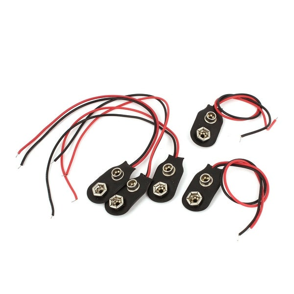 5 Pcs Wire Lead 9V Battery Faux Leather Connector Buckle Snap Clip Holder