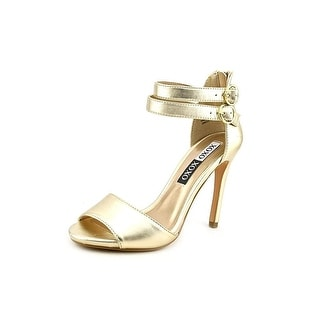 XOXO Waven Faux Leather Sandals Gold Size 70