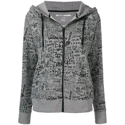 DKNY Women's Logo Printed Zipped Hooded Sweatshirt (L)