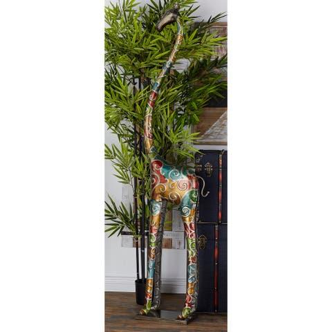 """Iron Eclectic Sculpture Giraffe - 73""""H, 17""""W"""