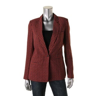 Joie Womens Printed Shoulder Pads One-Button Blazer - 6