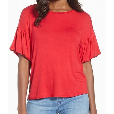 Bobeau Red Short Bubble Sleeve Women's Size Large L Knit Top