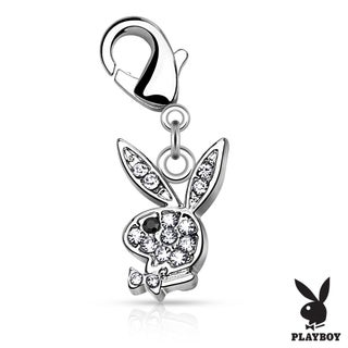 CZ Pave Playboy Bunny Charm with Lobster Claw (Sold Ind.) (3 options available)