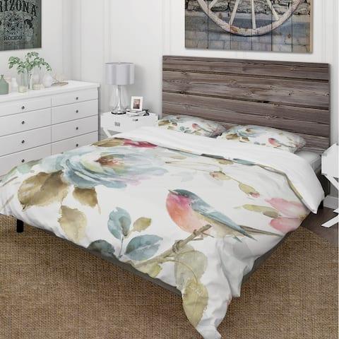 Designart 'Beautiful Bird Romance I' Cottage Bedding Set - Duvet Cover & Shams