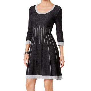 Nine West NEW Gray Womens Size Medium M Fit And Flare Sweater Dress