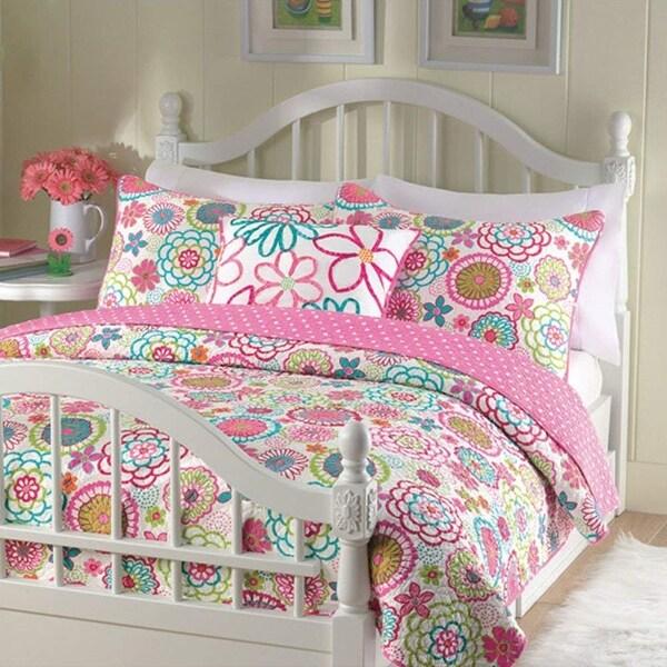 Cozy Line Floral Polka Dot Reversible Comforter Set. Opens flyout.