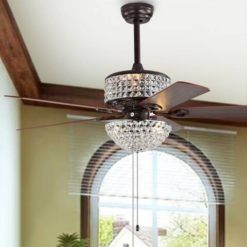 "Safavieh Lighting 52-inch Lanzer LED Ceiling Light Fan - 52"" W x 52"" L x 21.5""-26.5"" H"