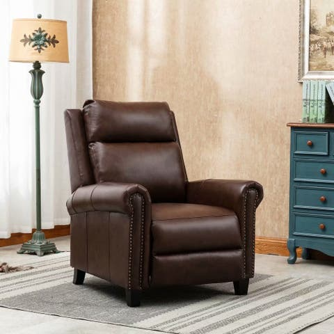 33.5'' Wide Leather Pushback Club Recliner