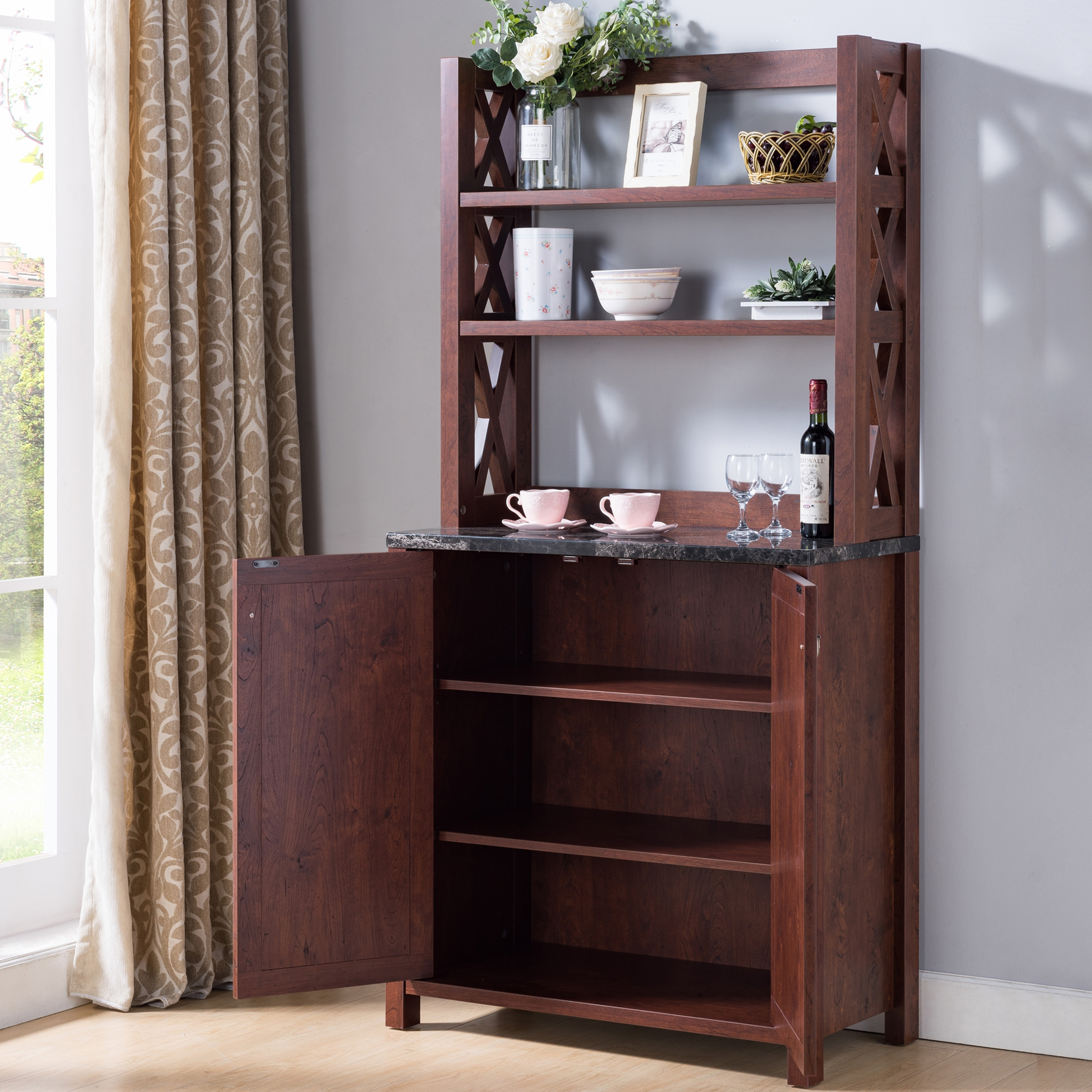 Picture of: Furniture Of America Yeer Rustic Walnut Kitchen Storage Hutch On Sale Overstock 25453143