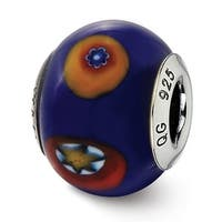 Italian Sterling Silver Reflections Blue with Decorative Accents Glass Bead (4mm Diameter Hole)