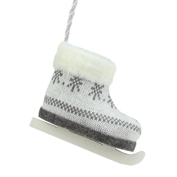 "6.25"" Alpine Chic Dark Gray and White Houndstooth and Snowflake Patterned Ice Skate Christmas Ornament"