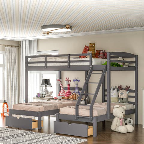 Nestfair Gray Full Over Twin Triple Bunk Bed with Drawers