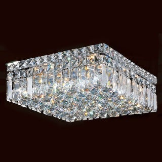 """Worldwide Lighting W33517C14 Cascade 5 Light 14"""" Wide Flush Mount Ceiling Fixture in Chrome with Clear Crystals"""