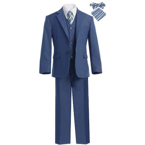51c0e9b13 Magen Kids Little Boys Indigo Blue Notch Lapel Jacket 7 Pc Formal Suit 5