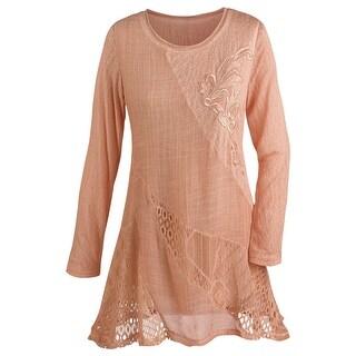 Women's Tunic Top - Lightweight Lace Peach 3/4 Sleeve Shirt