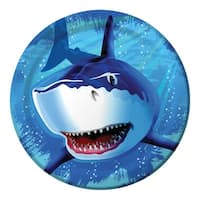 """Club Pack of 96 Shark Splash Disposable Paper Party Dinner Plates 9"""" - Blue"""