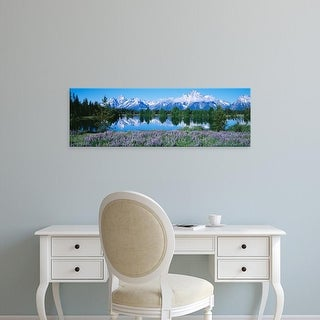 Easy Art Prints Panoramic Image 'Mountain range on water, Teton Range, Grand Teton National Park, Wyoming' Canvas Art