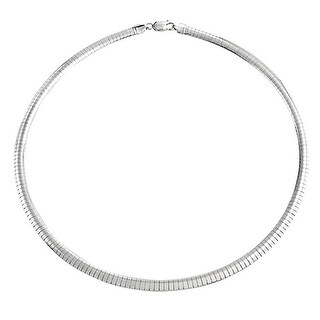 Bling Jewelry .925 Sterling Silver 6MM Wide Omega Chain Necklace 16 Inches
