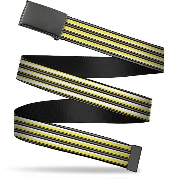 Blank Black Bo Buckle Voltron Belt Stripe Gray Black Yellows Webbing Web Belt