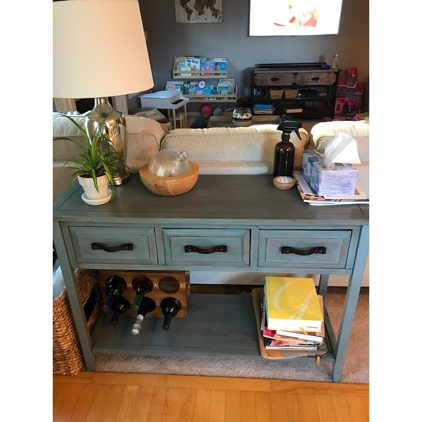 Shop Safavieh Aiden Console Distressed Pale Blue/ White Table   On Sale    Free Shipping Today   Overstock.com   8429335