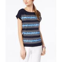 Tommy Hilfiger Blue Women's Size Large L Floral Stripe Blouse