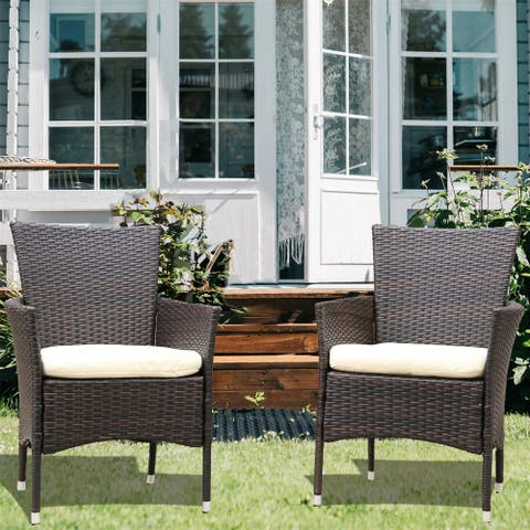 2pcs Patio Rattan Armchair Seat with Removable Cushions - N/A