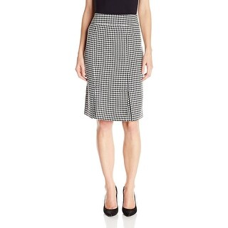 Kasper Houndstooth Pleated Pencil Skirt - 8