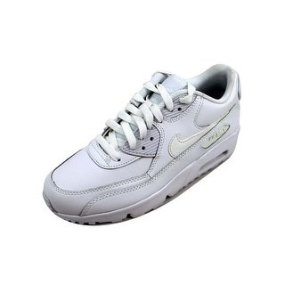 0633fc267f236 Shop Nike Grade-School Air Max 90 Leather White/White 833412-100 - Free  Shipping Today - Overstock - 22531447