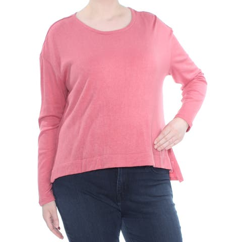 JESSICA SIMPSON Womens Pink Side Split Long Sleeve Top Plus Size: XL