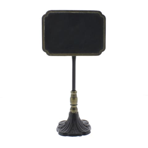 Rectangular Carved Metal Chalkboard Stand, Black and Brass