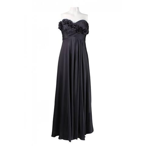 Adrianna Papell Rosette Trim Strapless Dress, Smoke, 14 Petite
