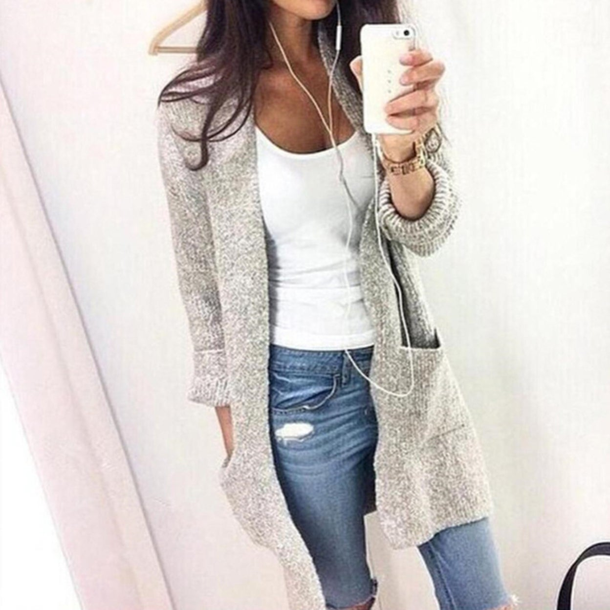 Women Sweater Cardigan Jacket Section Long Sleeved Large Pocket Casual Home Outdoor Knitwear As shown