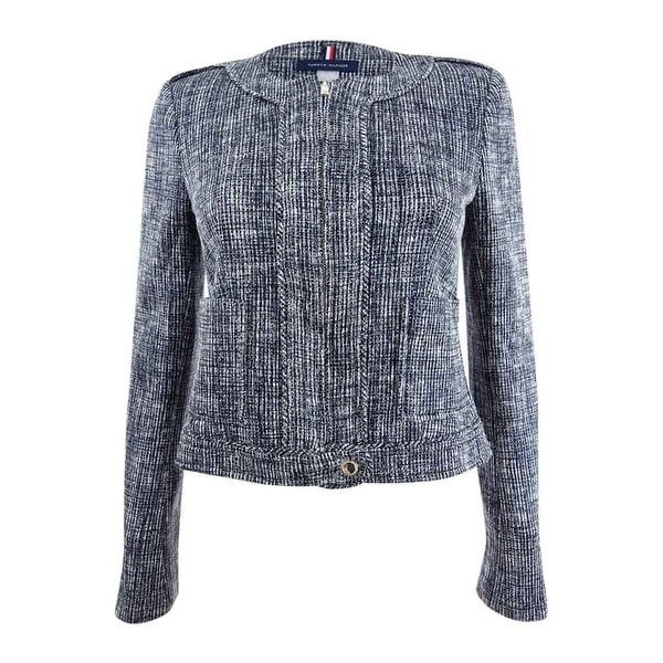 d95dfdb7243b1c Shop Tommy Hilfiger Women's Collarless Tweed Jacket - Black Combo - 0 - On  Sale - Free Shipping Today - Overstock - 26063450