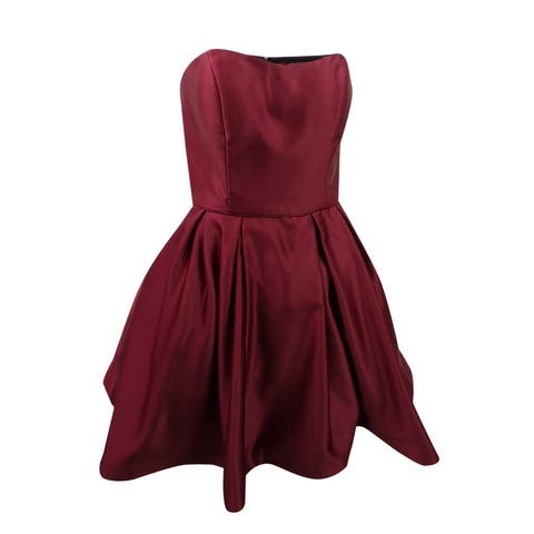Betsy & Adam Women's Strapless Fit & Flare Dress (10, Burgundy)