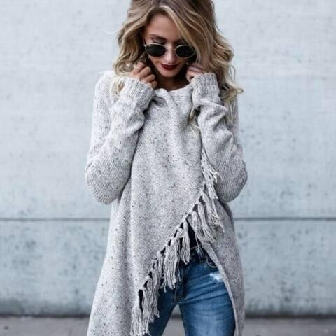 Woman's Medium And Long Section Fringed Shawl Coat