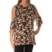 Womens Brown Black Geometric Short Sleeve Jewel Neck Top  Size  S