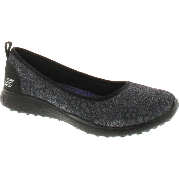 Skechers Microburst Hyped Up Womens Slip On Skimmer Sneakers - Black